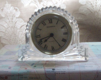 Vintage Crystal Desk Clock By Shannon