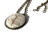 Embroidered Pendant Embroidery necklace Rustic jewelry