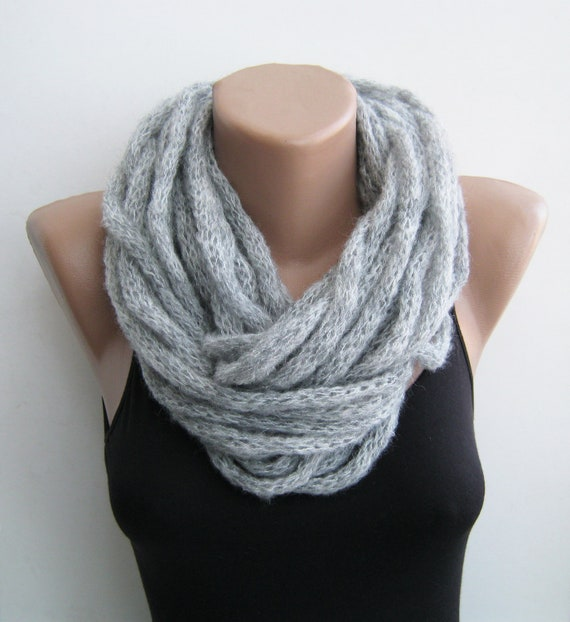 Gray i-cord cowl, scarf, necklace, infinity scarf, neck warmer