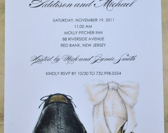 WEDDING, ENGAGEMENT, Rehearsal Dinner, Couples Shower Invitations:  Shoe Themed Invites Personalized! Choose your fonts and ink color