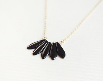 black fan necklace - modern delicate jewelry - black and gold / gift for her