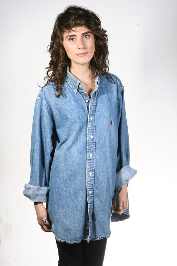 Vintage DENIM shirt 90s jean button up oxford classic basic