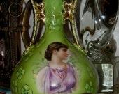 Antique Reinhold Schlegelmilch RS Prussia Royal Saxe Porcelain 11'Vase 1890's with Crown Hallmark