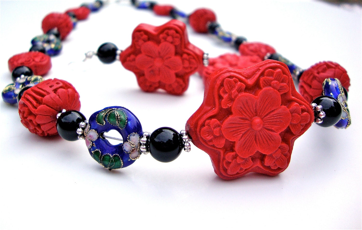 blue and cinnabar necklace with by sparklecityjewelry