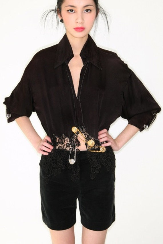 Reserved for Baige do NOT buy iconic vintage punk couture GIANNI VERSACE pre-death safety pin silk shirt w/lace inserts