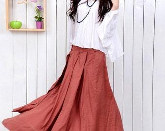 Red skirt linen skirts maxi skirt women skirt (C953)