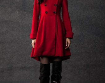 winter coats for women red cashmere jacket C786