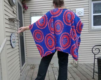 Clint Eastwood Style Poncho In Tie Dye Boho Print Fleece Warm Up