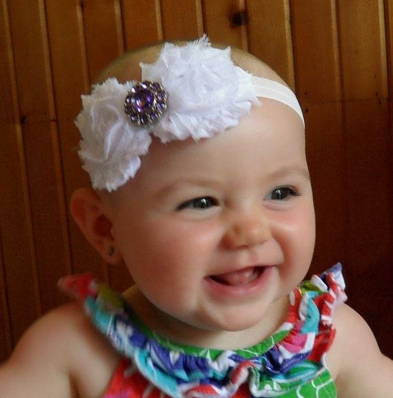 White Chiffon Rosettes with Purple Rhinestone Headband / Photo Prop- Custom Made, Infant, Baby, Toddler, Adult