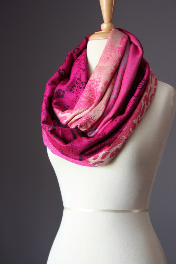 Pink Scarf Pashmina Scarf Hot Pink Infinity By Scarfobsession