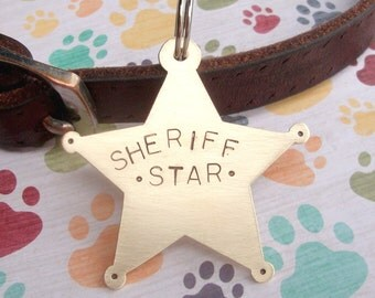Sheriff Star Pet Tag -Custom Dog or Cat Pet ID Tag- Handmade