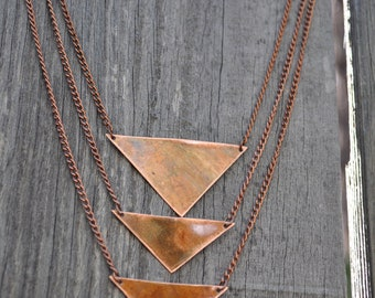 TripleTriangles - Reversible Copper Necklace