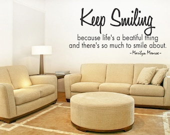 Keep Smiling Vinyl Wall Sticker Decal Quote Marilyn Monroe Lettering Decor v2 (108)