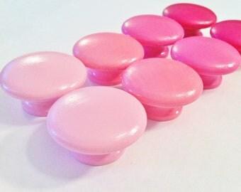 Pink dresser knobs - petal pink, bubblegum pink, raspberry pink