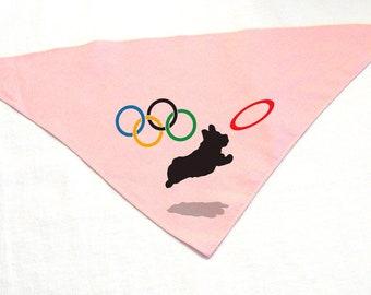 Dog Olympics Bandana w/ Corgi & Olympic Ring Frisbee