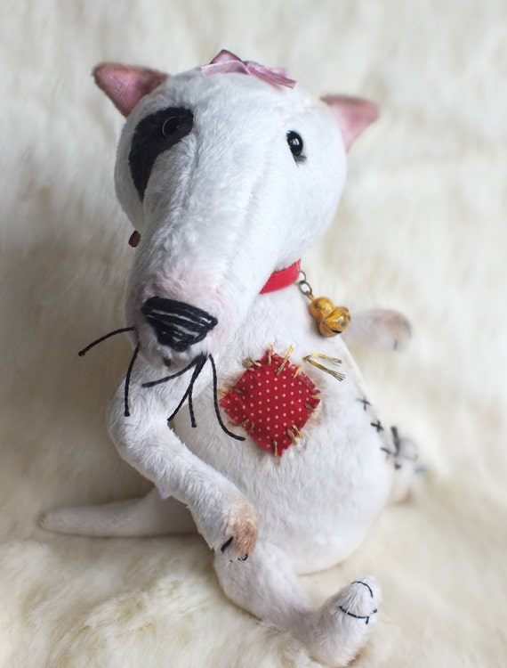 NAUGHTY Plush Bull Terrier - artist teddy bear - dog toy - animal doll - MAVIS