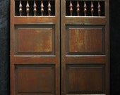 Vintage Swinging Cafe Doors, Handcrafted Aged Wood Saloon Pub