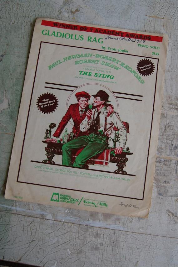 GLADIOLUS RAG Sheet Music From The Sting Movie Paul Newman and Robert Redford 1973 Ephemera