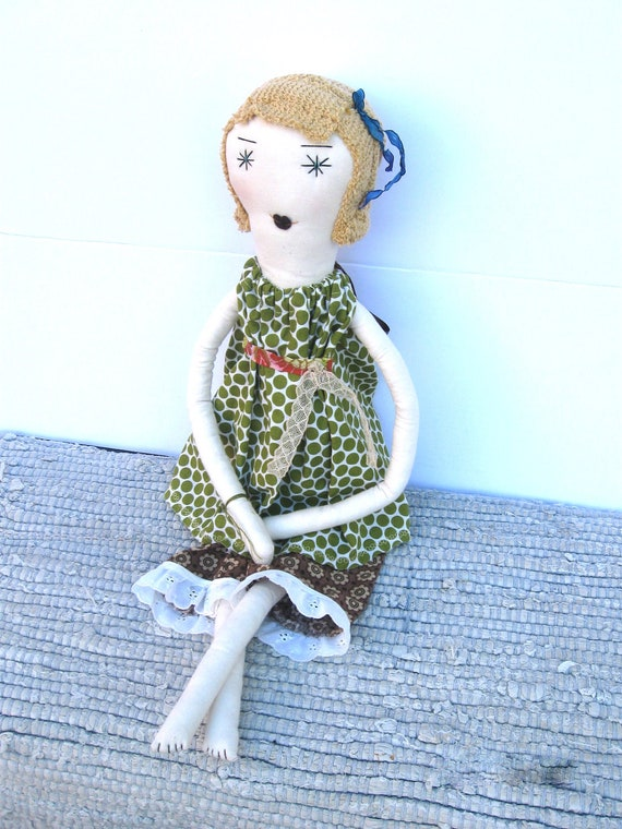 Cora: Handmade Soft Cloth Rag Doll - OOAK- Recycled and Vintage Textiles - Blonde Hair Blue Eyes - Green Apple  Polka Dots