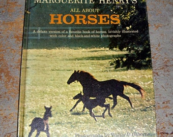 """Vintage Book, """"All About Horses"""" by Marguerite Henry, Horse Book, Horses, 1960's, Publication"""
