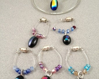 Dichroic fused glass wine glass charms with magnetic clasps