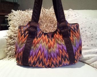 Emmaline Bag in kaffe fassett stripe  fabric , chocolate faux suede  straps