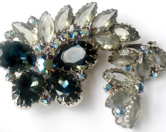 Juliana Butterfly Brooch and Earrings Set Delizza and Elster Jewelry Blue Rhinestone High Fashion Verified Collectible Juliana