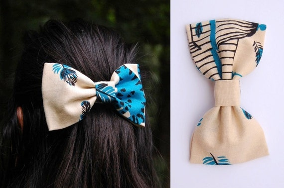 Out to Lunch Bow Tie Hair Clip - Summer 2012 Collection - Cats Feathers Birdcage Teal Tammis Keefe 1940s Vintage Cotton Large Fabric Bow