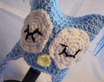 Blue Owl Earflap Hat - Newborn