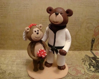 Personalized Monkey and Bear Wedding Cake Topper