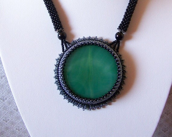 SALE - Beadwork Bead Embroidery Pendant Necklace with Green Agate - GREEN DREAM - green - black