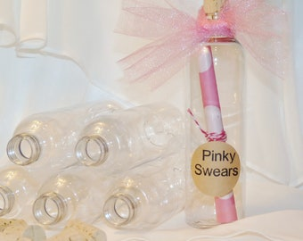 CORK BOTTLES - CLEAR Plastic Favor Bottles (set of 6) -Ready To Fill with -Love Notes -Party Invites-Pirate Party-Wedding-Soroity Secrets