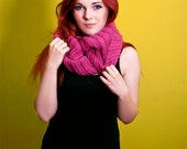 pink cowl knitting oversize seamless shawl thick alpaca cozy fall 2012
