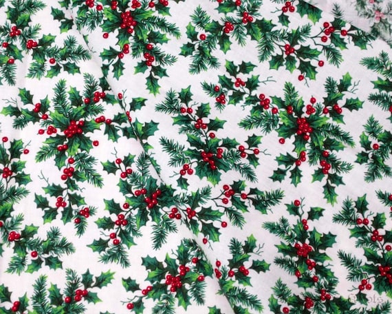White Cotton Fabric - Red Berries, Green Holly, Pine Leaves - Christmas Holiday