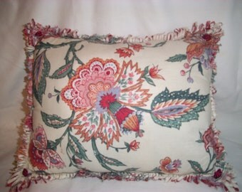 Handmade DECORATIVE PILLOW In Beautiful DESIGNER Fabric, Reds and Greens