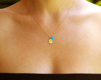Hamsa jewelry, hand of fatima necklace, gold hamsa necklace, hamsa necklace, charm necklace, gold necklace, gold filled necklace