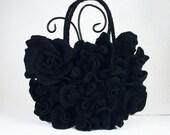 Felted Bag Nunofelt Handbag ART DECO BAG Roses purse Felt Nuno felt Silk Eco noir onyx black bag roses fairy floral fantasy Fiber Art boho