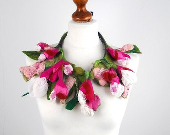 Felted Collar Nunofelt Necklace flower art jewerly Nuno felt LA BELLE EPOQUE collar Art deco silk fairy floral fantasy Fiber Art boho