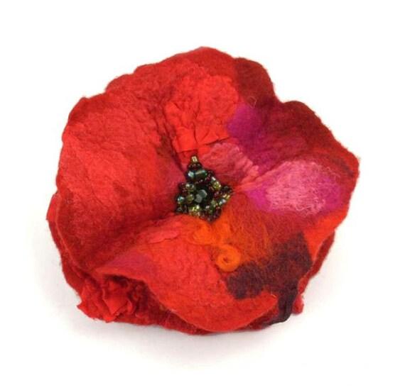 Felted Brooch Designer Brooch Nunofelt Brooch red ruby burgundy poppy silk flower wool