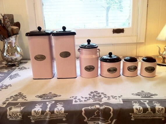 pink kitchen canisters vintage pink enamelware kitchen canisters by whitneyandco on etsy 1729