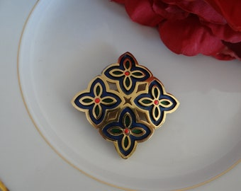 Vintage signed Napier Gold Tone Brooch  Contemporary Flower Petal Design  in tones of Red and Blue and Green