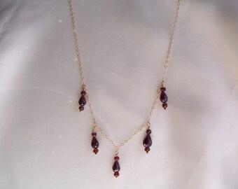 "Tiny garnet necklace  14k gold filled 18 1/2"" dark red handmade gemstone item 319"