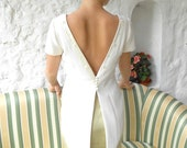 Ivory blouse, ivory top, tailed back top, event, wedding, beaded, high fashion