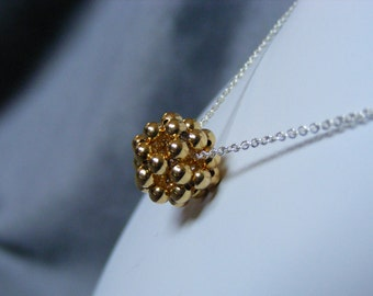 Gold Plated Brass Dodecahedron Necklace
