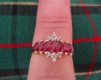 10k Ruby & Diamond Ring SALE Size 7