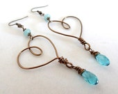 Bronze Floating Wire Wrapped Heart Blue Amazonite Crystal Dangle Handmade Love Earrings