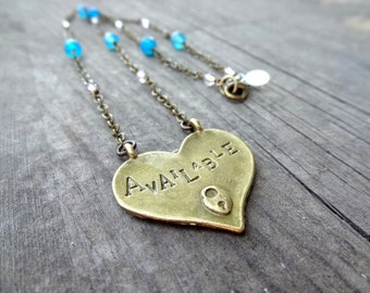 Super Cute Bronze Available / Taken Double Sided Handmade Blue Agate Crystal Bead Love Heart Pendant Necklace Jewelry Single