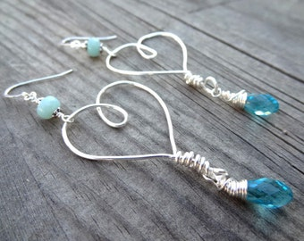 Sterling Silver Floating Wire Wrapped Heart Blue Amazonite Crystal Dangle Handmade Love Earrings