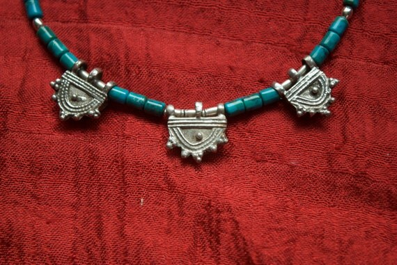 Ethiopian old Telsum bead necklace with turquoise and sterling silver beads