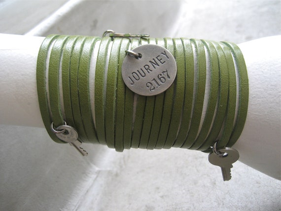 Leather Bracelet - Cuff - Charm Bracelet - Green Bracelet - Sliced Bracelet - Key Charms - Journey - Boho Bracelet - Piece Lust